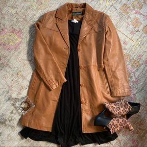 Harve Bernard Tan Leather Long Coat